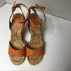 Bandolino Cork Anklestrap wedge Orange Sandal S6.5